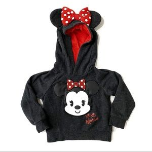 Disney Minnie Pullover Hoodie With Ears and Bow